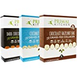 Primal Kitchen – Coconut Cashew, Dark Chocolate and Hazelnut Protein Bars, Variety 3 Pack – Made with Grass–Fed Collagen (Protein), Hazelnuts & Organic Fair–Trade Cocoa (18 Bars Total)