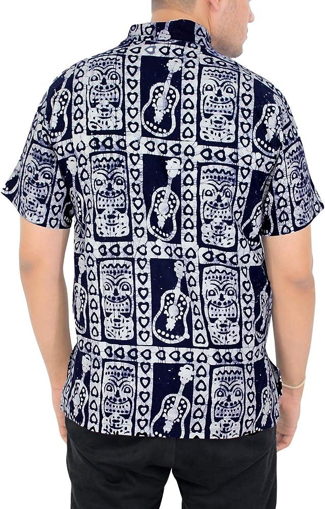 LA LEELA Casual Hawaiana Camisa para Hombre Señores Manga Corta Bolsillo Delantero Vacaciones Verano Hawaiian Shirt L-(in cms):111-121 Azul Marino_W499: Amazon.es: Ropa y accesorios