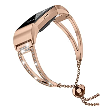 Moolia Compatible with Fitbit Charge 2 Bands for Women, Bling Jewelry  Bracelets Adjustable Stainless Steel Metal Bands Small Bangle Straps Rose  Gold