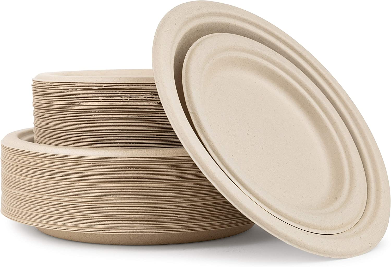 Pro Dispose Wheat Straw//Bagasse Plates 50 Lunch Plates and 50 Dessert Plates 100/% Compostable Biodegradable Plant Based Process Chemical Free and Eco Friendly Plates for Your Next Barbeque
