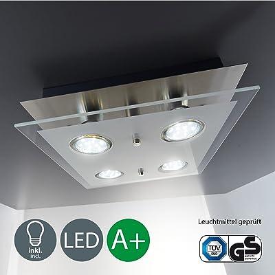 B K Licht Plafonnier Led Moderne Verre Satine 4x3w Gu10 Lampe