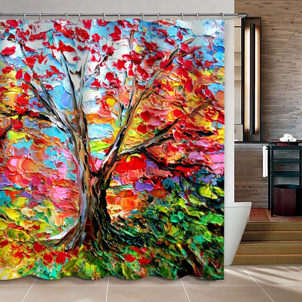 Amazon.com: Uphome Fabric Waterproof Mildew Resistant Shower Curtain, Heavy  Duty Abstract Forest Colorful Oil Painting Tree Curtain Sets For Bathroom  And ...