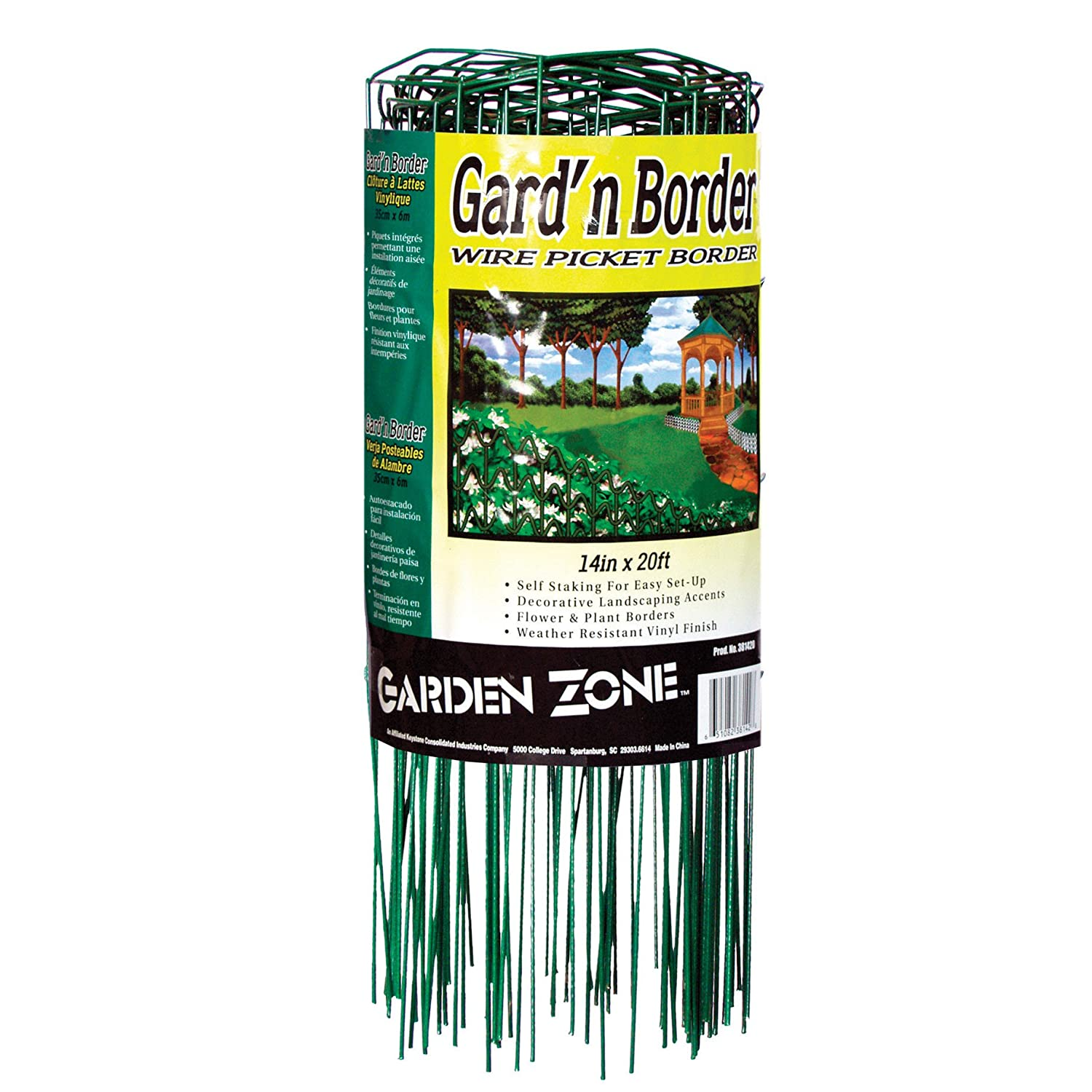 Origin Point 381420 20-Foot x 14-Inch Gard'n Border Wire Picket Fence, Green