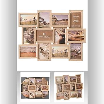Cadre photo pêle-mêle mural - Capacité 12 photos - Coloris BOIS ...