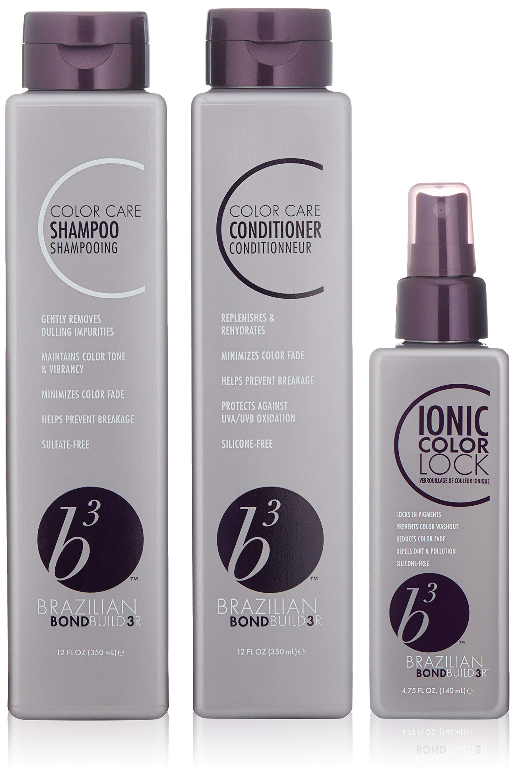 B3 Shampoo/Conditioner/Ionic Color Lock Trio Pack by B3 BRAZILIAN BONDBUILDER