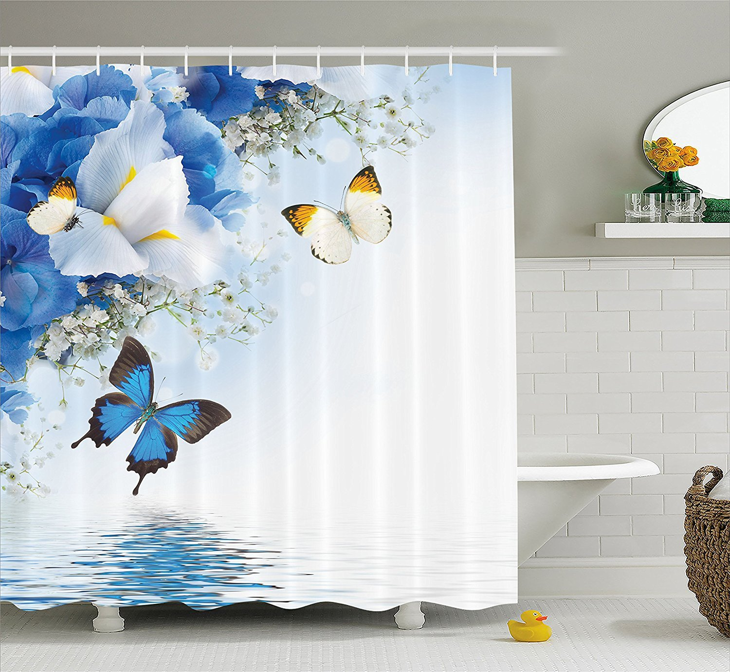 Fabric Shower Curtain 72x72 inches, Resort Spa Home Decor Blue White Wild Flowers Monarch Yellow Butterflies Theme Lily Therapy Zen Reflection Floral Bathroom Lake House Decor Art Prints Design