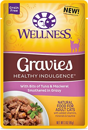 Wellness Healthy Indulgence Natural Grain Free Wet Cat Food, Gravies Tuna Mackerel, 3-Ounce Pouch Pack Of 24