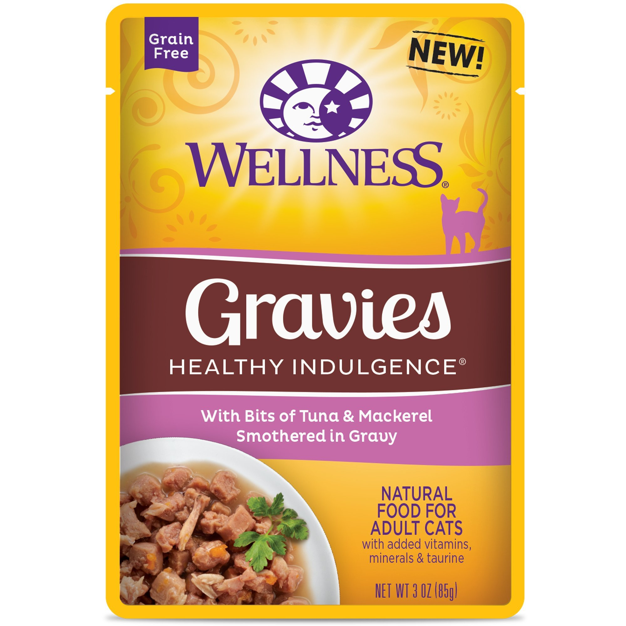 Wellness Healthy Indulgence Natural Grain Free Wet Cat Food, Gravies Tuna & Mackerel, 3-Ounce Pouch (Pack Of 24) by Wellness Natural Pet Food