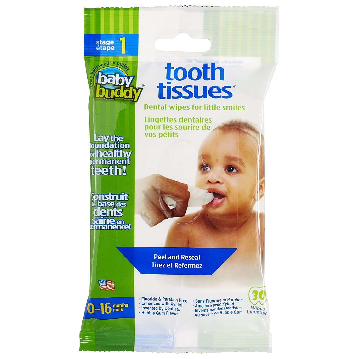 Baby Buddy Tooth Tissues Stage 1 for Baby/Toddler, Bubble Gum Flavor Kids Love, White, 30 Count 00580