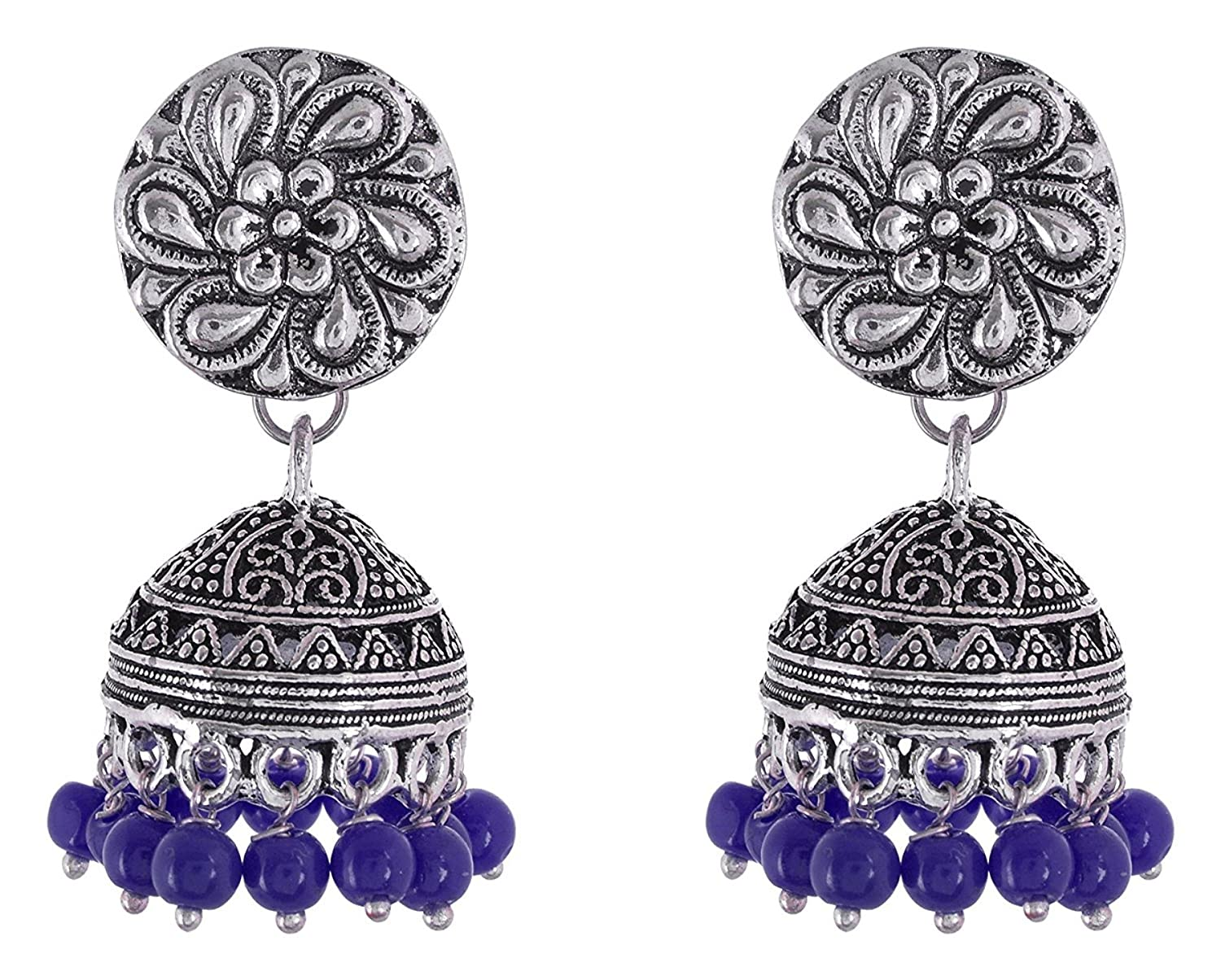 Subharpit Blue and Silver Oxidized Jhumki Earrings for Women and Girls