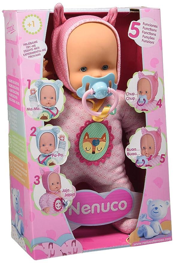 Nenuco de Famosa- Muñeco Blandito 5 Funciones, Color Rosa (700014781)