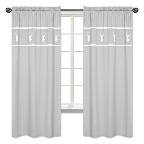 Grey and White Deer Window Treatment Panels Curtains for Woodsy Collection by Sweet Jojo Designs – Set of 2