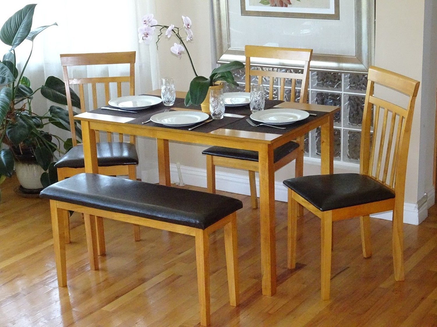 Rattan Wicker Furniture Dining Kitchen Solid Wooden Bench Stained Padded Seat Classic Design in Maple Finish by Rattan Wicker Furniture (Image #3)