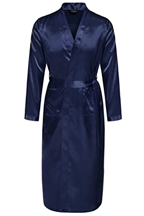 f1db474a55 Avidlove Men Robes Long Satin Bathrobe Lightweight Sleepwear Navy Blue S