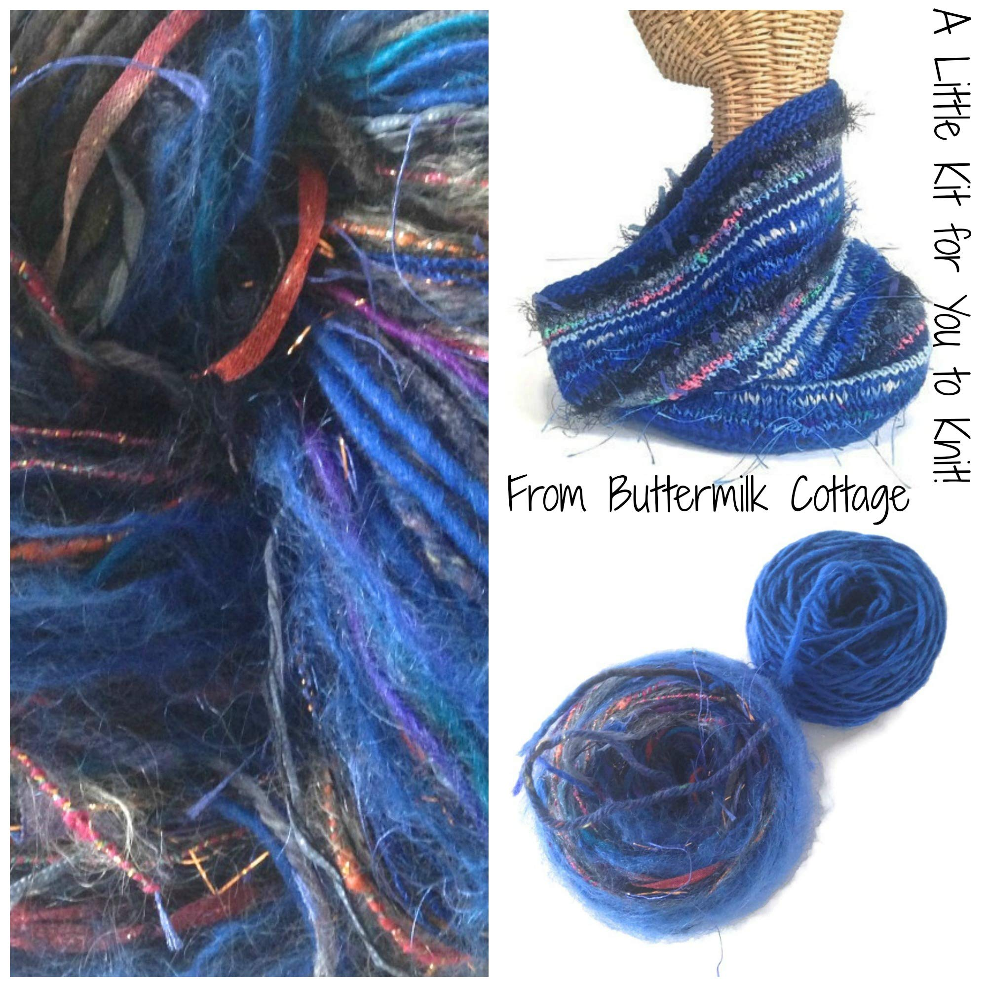 Boutique Yarn Cowl Knitting Kit Blue