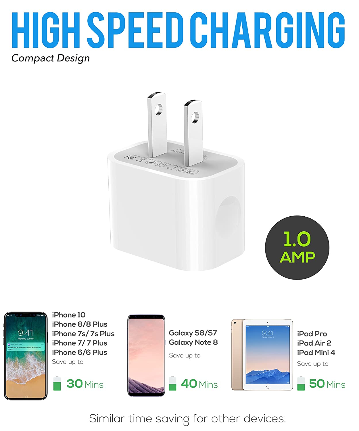 the latest e84b5 e096f iPhone X Charger set, iPhone X/8/8 Plus/7 Plus/7/6S plus/6S/6/5/5S/5C  Charger 5W - 2.1 Amp Fast Power adapter Apple MFi Certified Lightning to  USB ...