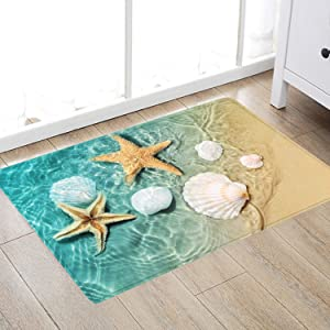 Beach Starfish Scallop Print Sponge Foam Bath Rugs and doormats Non Slip Absorbent Super Cozy Flannel Bathroom Rug Carpet 24 x16 inches