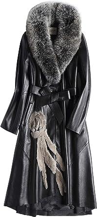 Women 100/% Real Knitted Mink Fur Luxury Long Coat Outwear Hoody Outwear Jacket