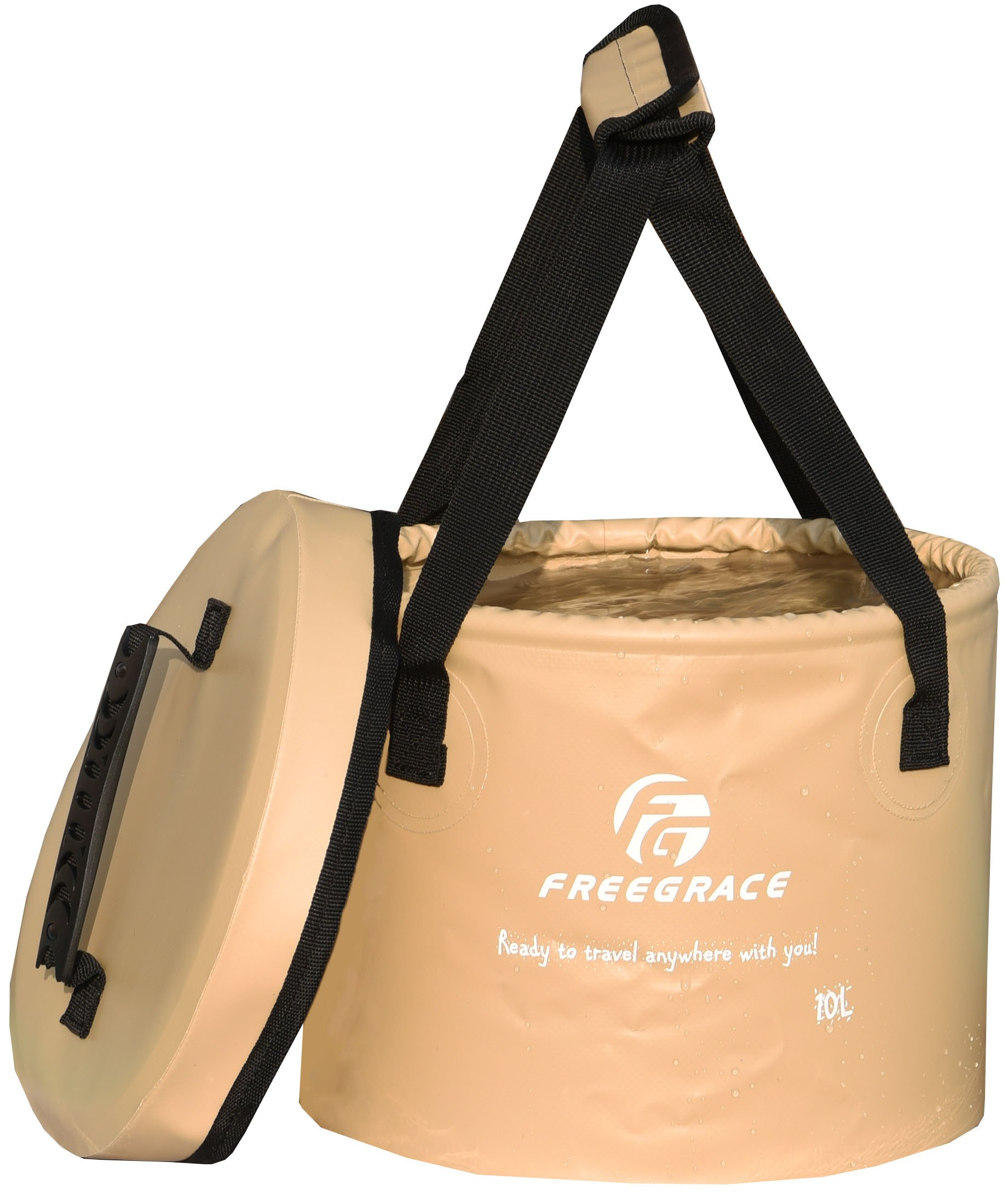 Freegrace Premium Collapsible Bucket -Multifunctional Folding Bucket -Perfect Gear for Camping, Hiking & Travel (Khaki, 10L(Upgraded)) by Freegrace