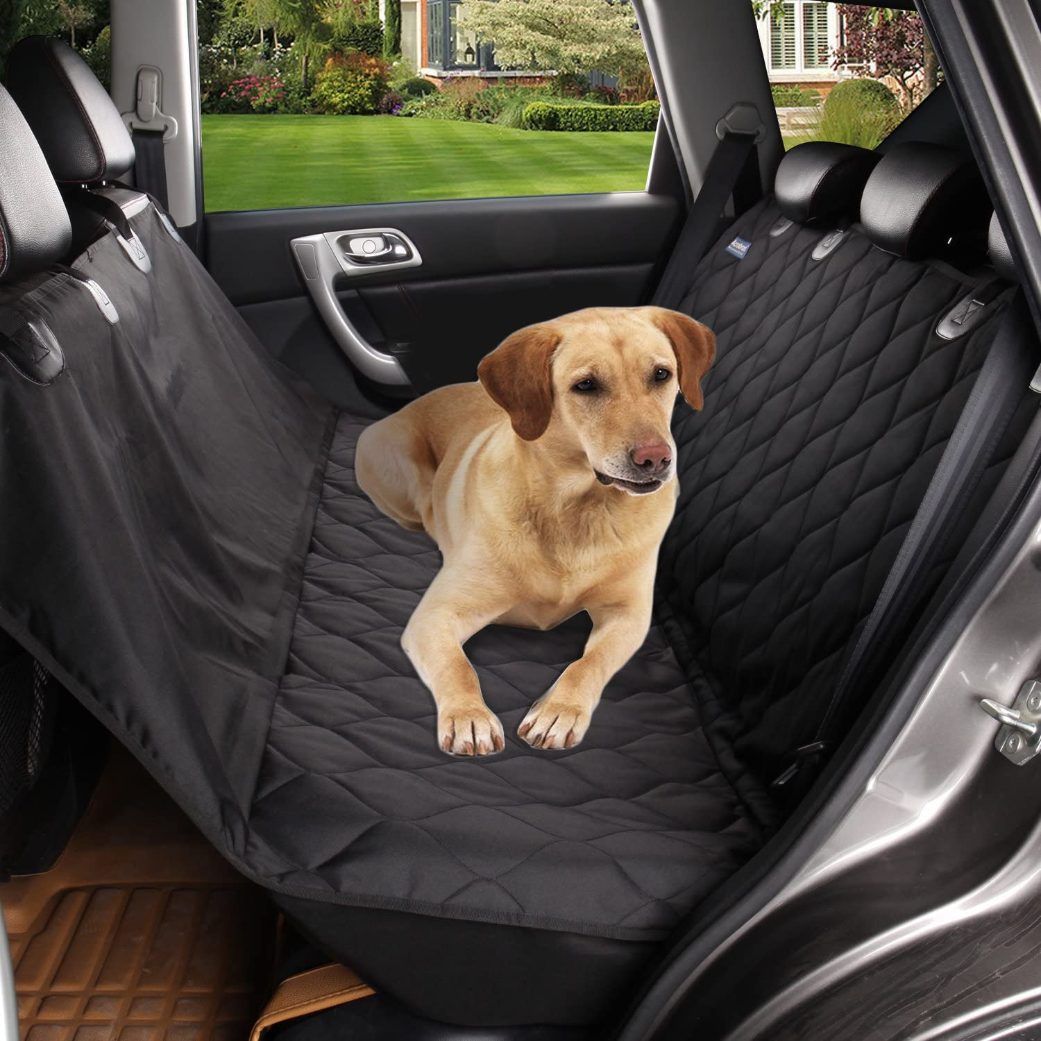 acelitor Deluxe Dog Seat Covers for Cars,Dog Car Seat Hammock Convertible,Universal Fit,Extra Side Flaps,Exclusive Nonslip,Waterproof Padded Quilted,Black01