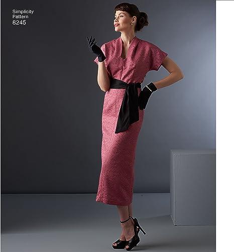 Simplicity Pattern 8245 Ms VINTAGE 1950/'s Dress w//Sash /& Jacket w//Back Pleat
