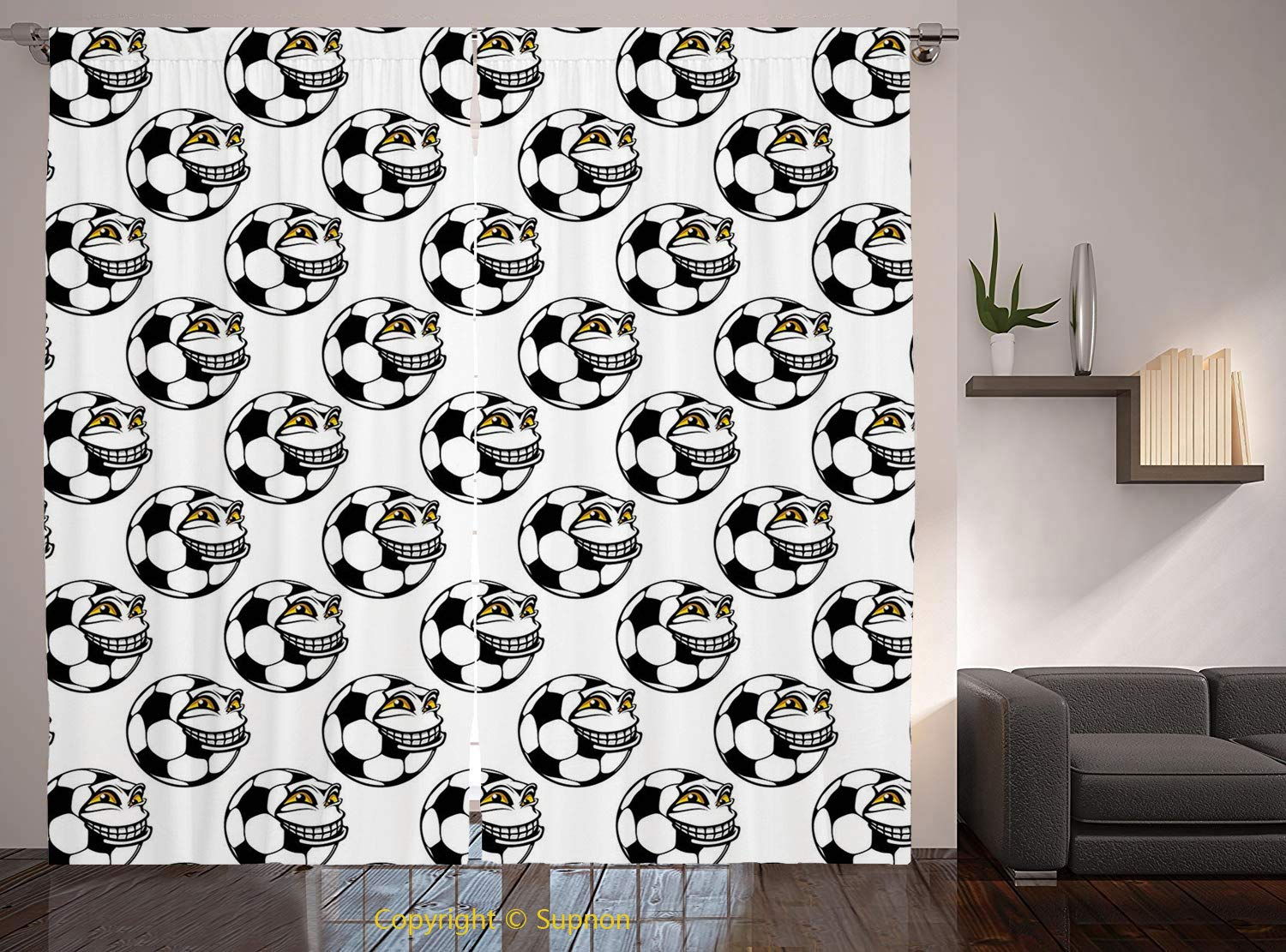 Living Room Bedroom Window Drapes/Rod Pocket Curtain Panel Satin Curtains/2 Curtain Panels/120 x 66 Inch/Soccer,Cartoon Football Mascot with Happy Funny Face Expression Sports Game Play Decorative,Bla