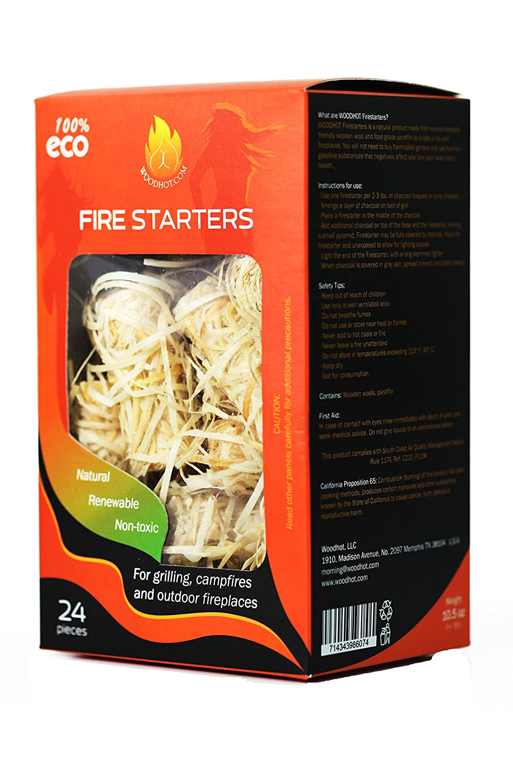 Fire Starters ( firelighters )100% All Natural - Super Fast Lighting, 24 pieces, best for charcoal, briquettes, firewood WOODHOT WH.F-1/24