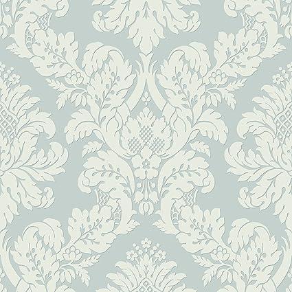 Glitter Damask Wallpaper Teal White Pear Tree Uk10482 Amazon Co