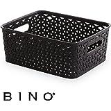 BINO T-Weave Woven Plastic Storage Basket, Small (Black)