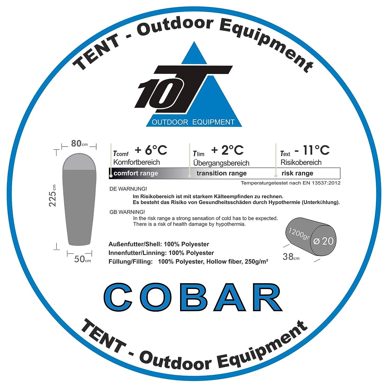 10T Outdoor Equipment 10T Cobar Saco de Dormir de la Momia, Gris, Estándar: Amazon.es: Deportes y aire libre