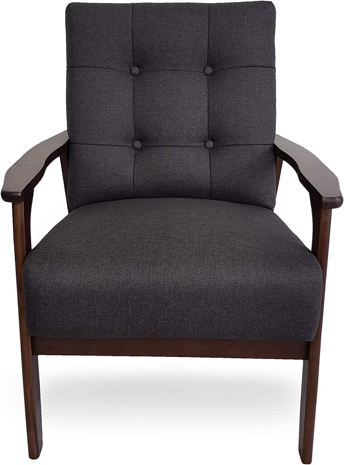 Christopher Knight Home Athena Mid Century Waffle Stitch Tufted Accent Arm Chair with Rubberwood Legs-Black and Walnut Finish