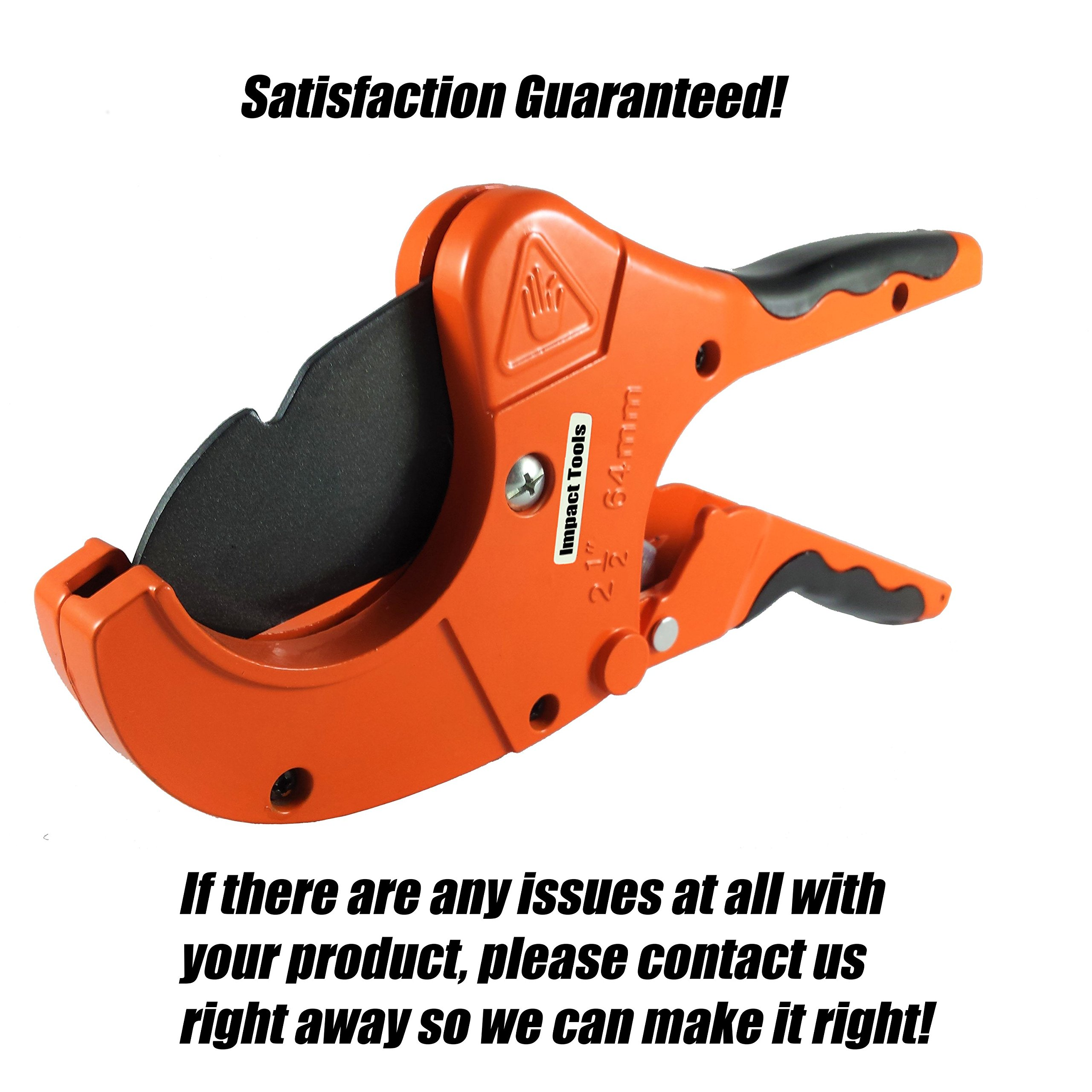 PVC Pipe Cutter | Cuts up to 2.5 Inch Diameter | One Handed Heavy Duty Ratchet Plastic Pipe and Tube Cutter Tool for PVC CPVC PEX PE PPR and more | Perfect for Plumbing and Irrigation Pipe by Impact Tools (Image #7)