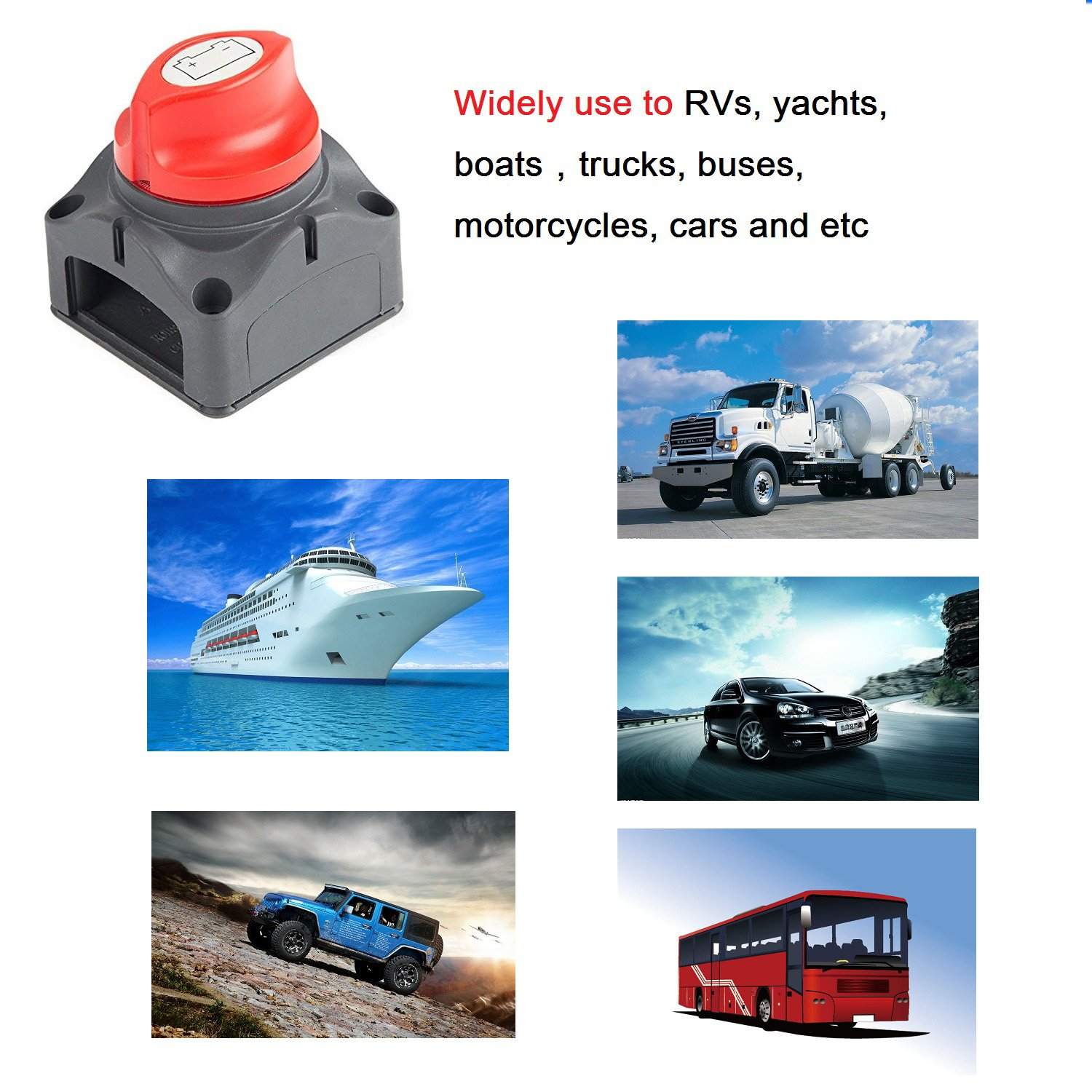 VVHOOY Battery Disconnect Isolator Master Cut off Kill Switch On//Off Shut-Off Switch for RV Battery Marine Caravan Boat Truck Van Car ATV Vehicles 275//1250 Amps Waterproof