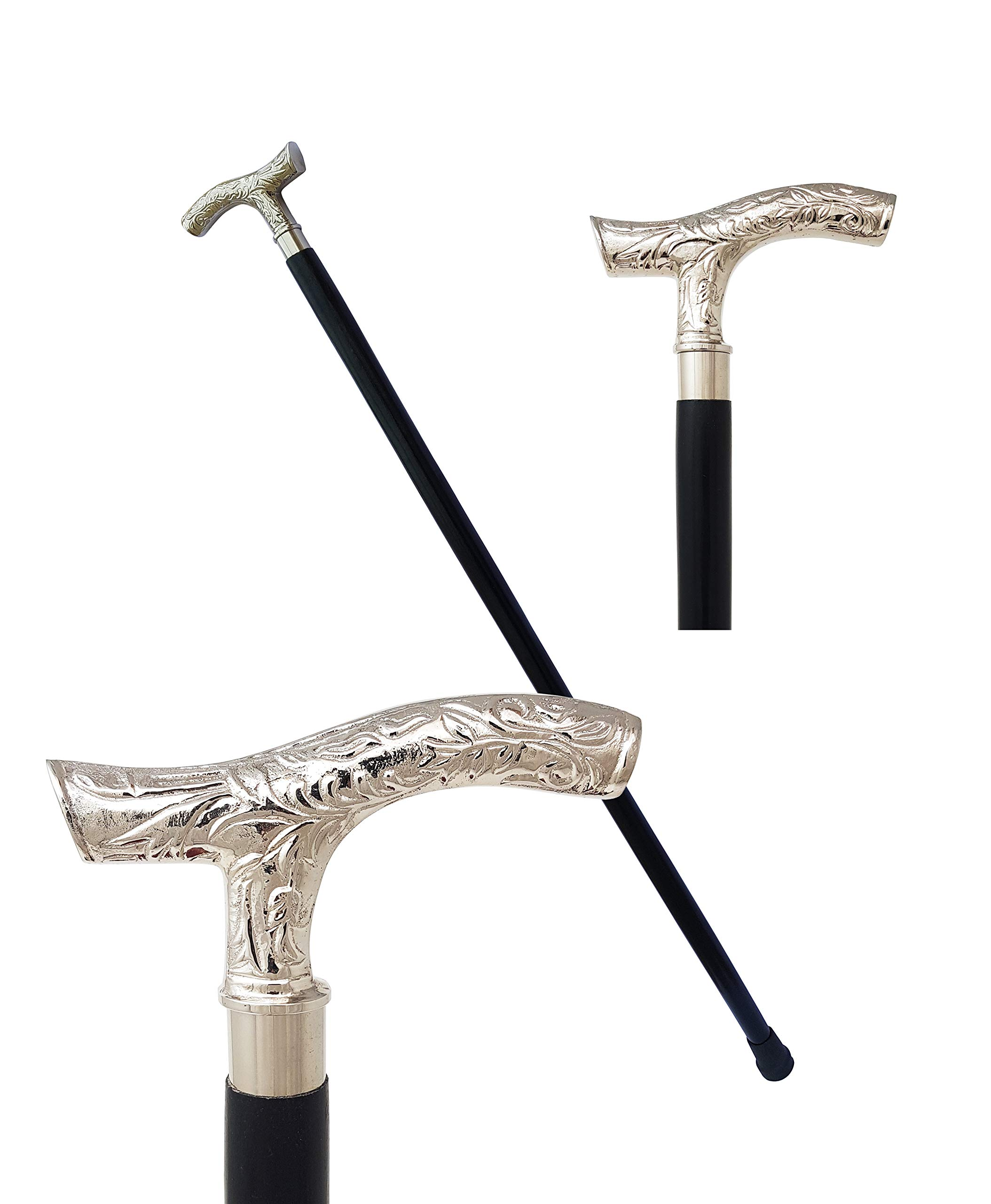 The New Antique Store - Brass Derby Handle Walking Cane Wooden Cane Stick - Made of Rosewood & Brass (Ornate Chrome)