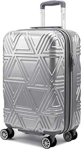 Badgley Mischka Contour Hard Expandable Spinner Carry-on Suitcase Silver