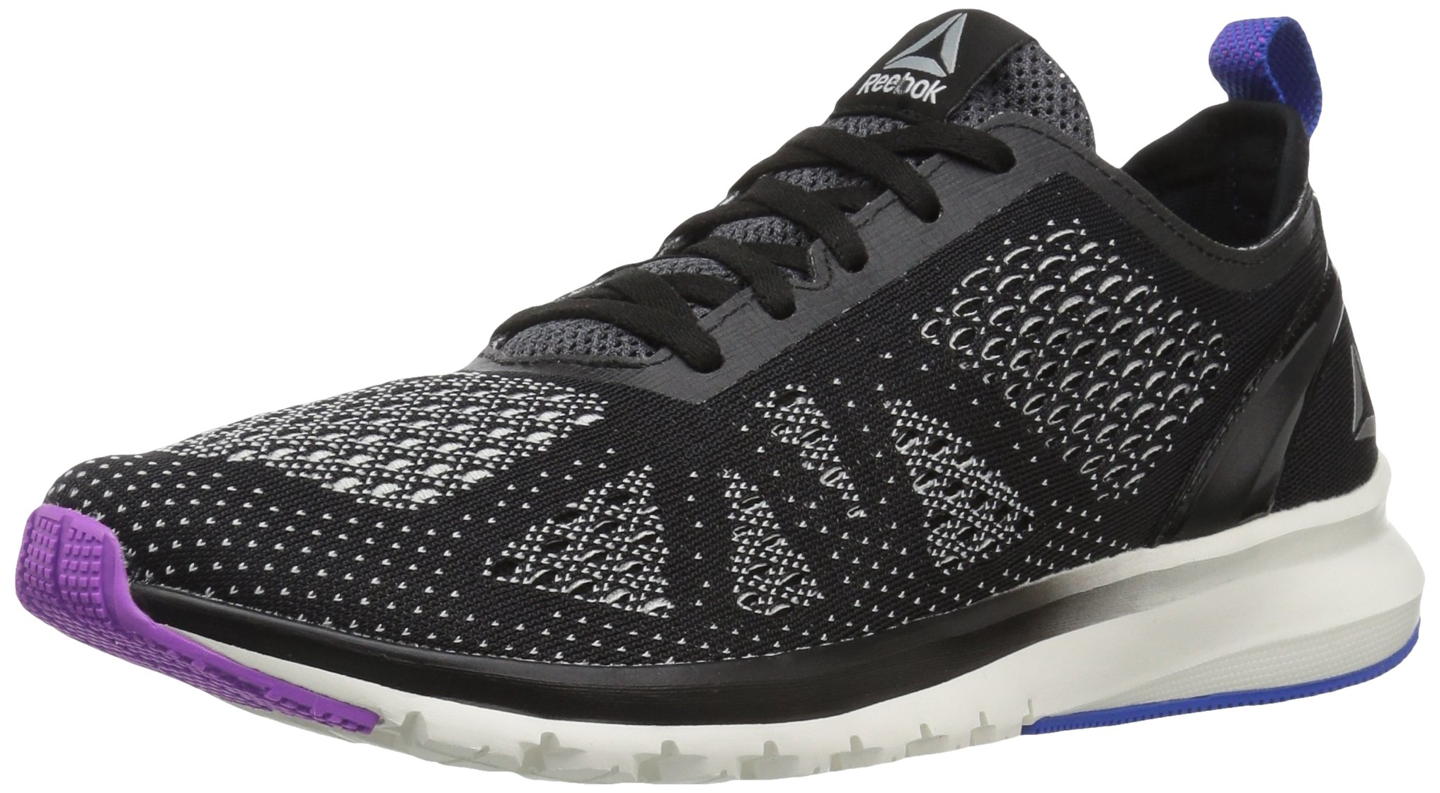 Reebok Women's Print Smooth Clip Ultk Track Shoe, black/chalk/vicious violet/vital blue, 10 M US