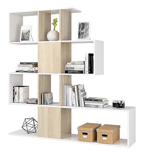 Libreria A Parete Prezzi.Azard Zig Zag Libreria Bianco Bianco Beige 145 X 29 X 145 Cm