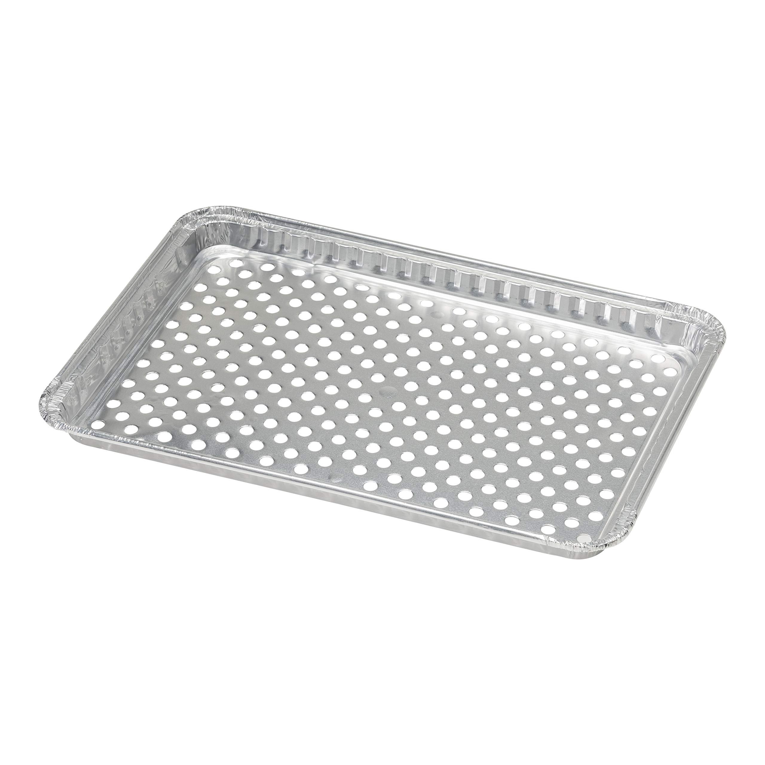 pinkada 24-Pack Disposable Aluminum Foil BBQ Grill Topper Pan Prevents Food from Falling into The Grill or Sticking to The Grate No Clean Up Necessary - Perfect for Camping and Outdoor Use
