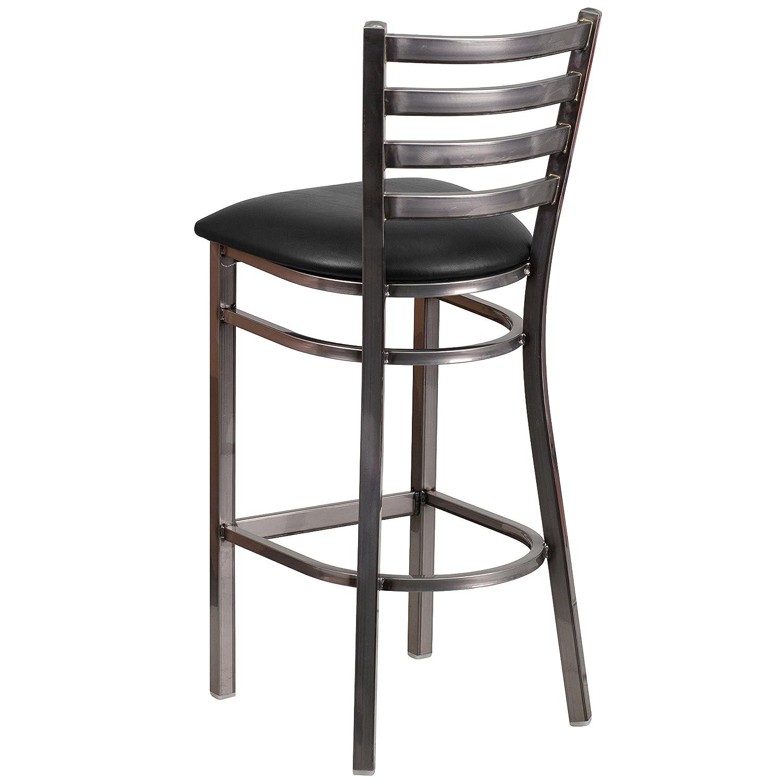 Gentil Amazon.com: Flash Furniture HERCULES Series Clear Coated Ladder Back Metal  Restaurant Barstool   Black Vinyl Seat: Kitchen U0026 Dining