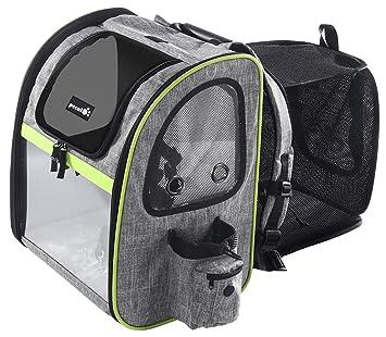 ペキュート[Pecute] ペットキャリーバッグ リュック 容量を拡張可能なバックパック ペットのキャンピングカー バッグ・ペットハウス 2in1 持ち運べるペットの広々空間 猫・小型犬・中型犬用 ドライブ/キャンピング/旅行/通院/災害避難用 ペットバッグ グレー