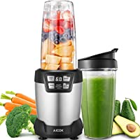 Blender, Aicok Smoothie Maker, Juice Blender, Personal Blender, 1200W Fruits Blender of 28,000 RPM Rotation Speed, Blender Smoothie Maker, LED Display with Touch Button Control, Silver