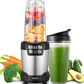 Blender Aicok Smoothie Maker 1200w High Speed Personal Food Processor Programmable Juicer With 6 Stainless Steel Blades And 2 Tritan Bottles 081l
