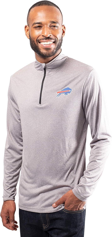 Buffalo Bills Heather Gray Small Ultra Game Mens NFL Moisture Wicking Soft Quarter Zip Long Sleeve Tee Shirt