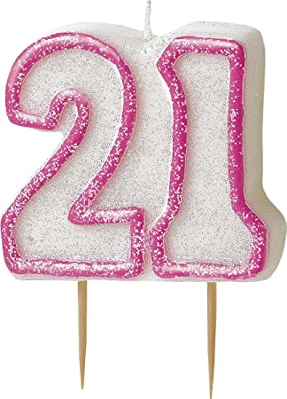 WOW GLITTER PINK 70th Birthday Candle