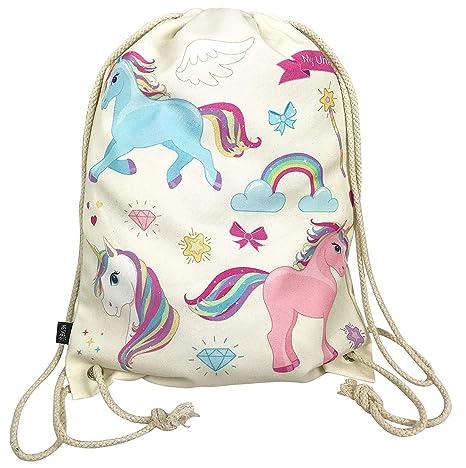 Heckbo Sacca Per Bambine Con Unicorni Beige Motivo Con Unicorni