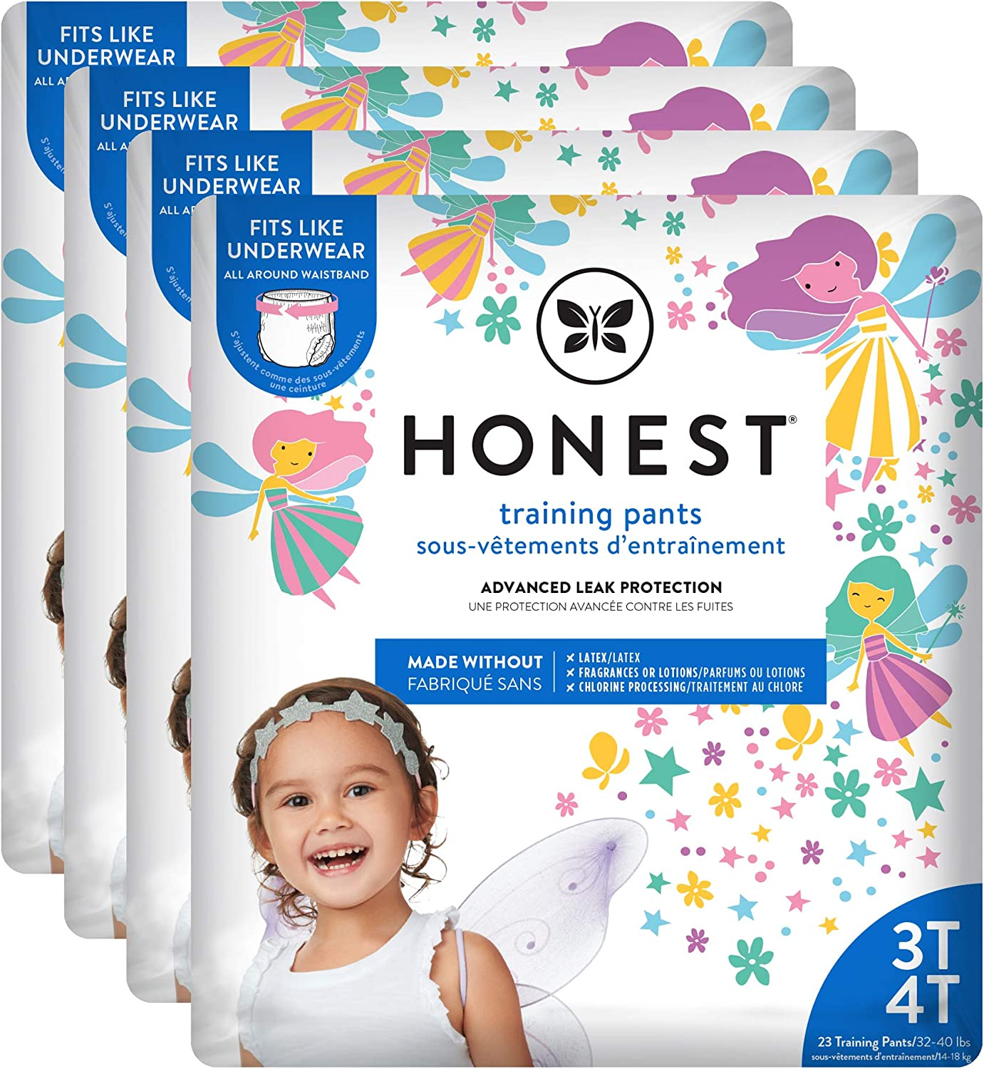 The Honest Company Toddler Training Pants   Fairies   3T/4T   92 Count   Eco-Friendly   Underwear-Like Fit   Stretchy Waistband & Tearaway Sides   Perfect for Potty Training