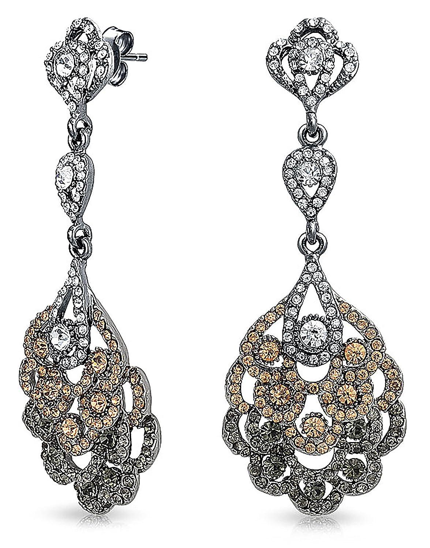 Bling Jewelry Gun Metal Plated Brass Crystal Lace Chandelier Earrings