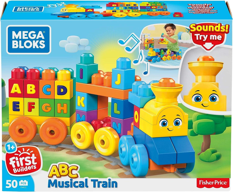 Mega Bloks FWK22 ABC Musikzug mit Ger/äuschen 50 Teile Multicolour