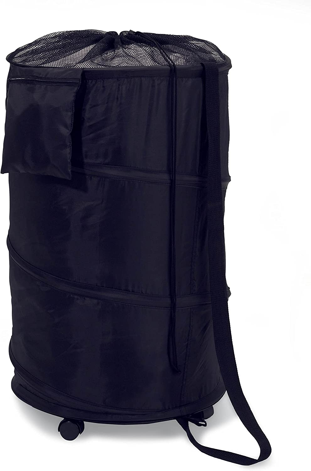 Honey-Can-Do HMP-01454 Deluxe Nylon Pop Up Clothing Hamper on Wheels Black 27 inches x 18.5 inches