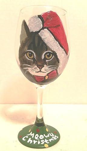 Amazoncom Hand Painted Meowy Christmas Cat Wine Glass Boots Handmade